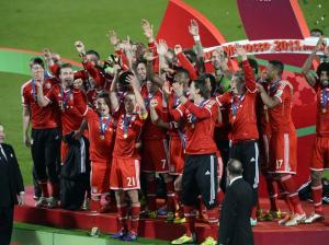Jogadores do Bayern de Munique comemoram a conquista do Mundial de Clubes da FIFA. Foto: AFP
